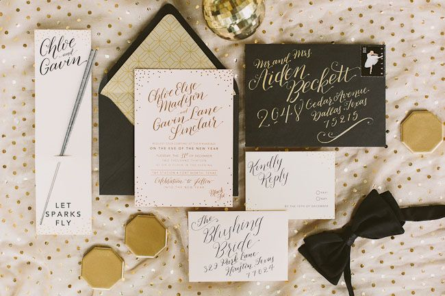 black, gold, and pink new years eve invitation, gold foil on blush by Southern Fried Paper // featured on Green Wedding Shoes