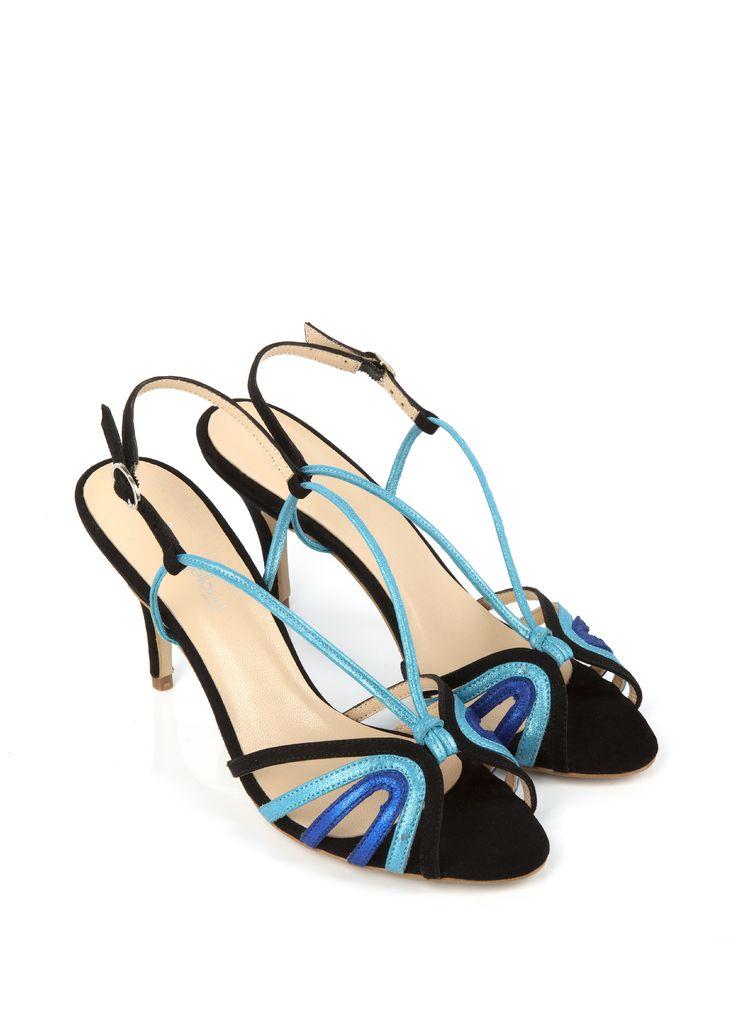 Sandale à talon VESTALE Bleu et Noir - SOLDES
