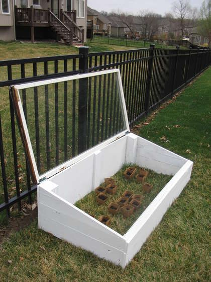 Build a Seed House/Mini Greenhouse. Make a small greenhouse for starting seeds earlier to extend the growing season! The window will help trap heat inside the box so that it will warm up and you can plant seeds a little earlier.