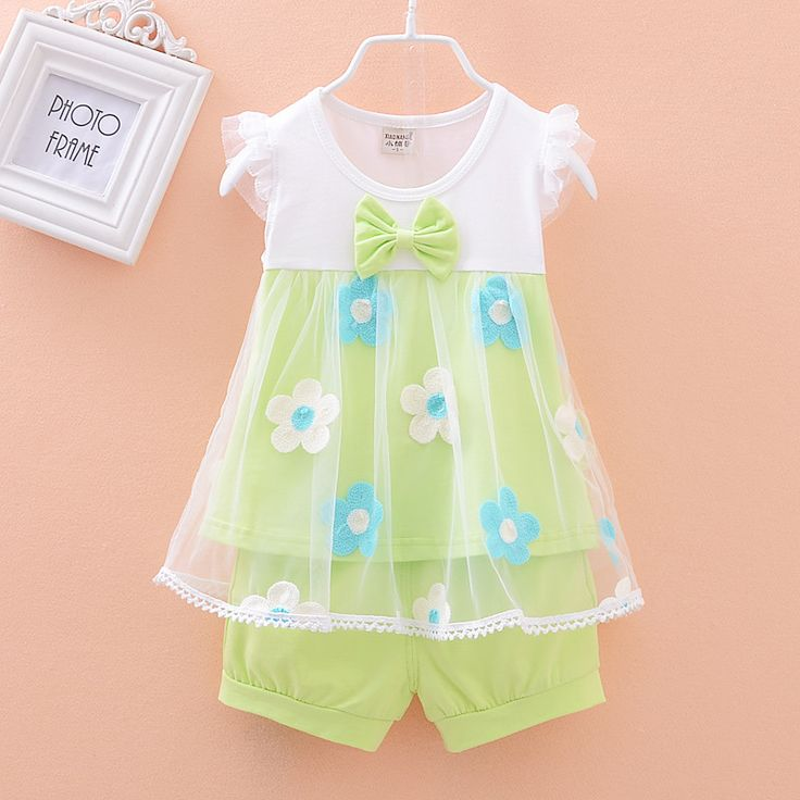 Baby Girls Clothing Sets Summer New Kids Clothes Set Sleeveless T shirt + shorts For Girls Outfits Flower