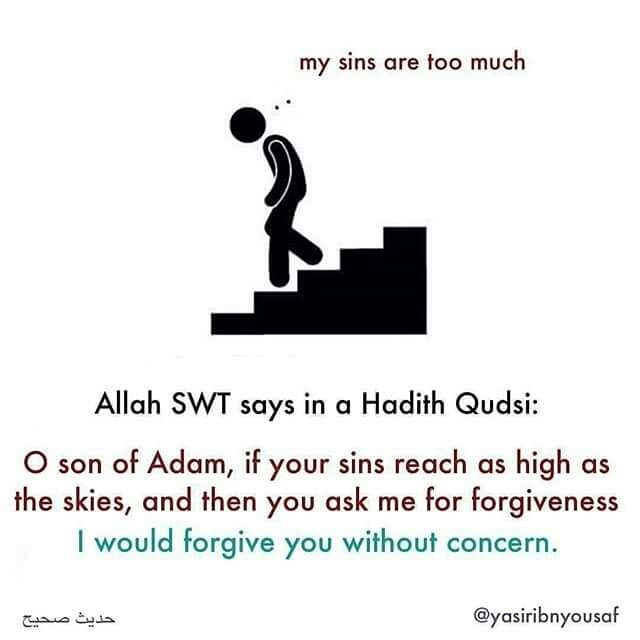 Don't turn away from Islam because you feel like you've sinned too much... Repent whole-heartedly and Allah will forgive you. #alhamdulillah