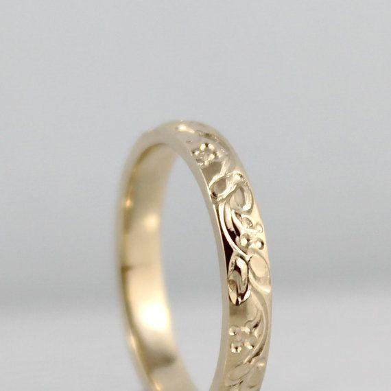 14K Yellow Gold Wedding Band Design Band by EngagedJewelry, $595.00
