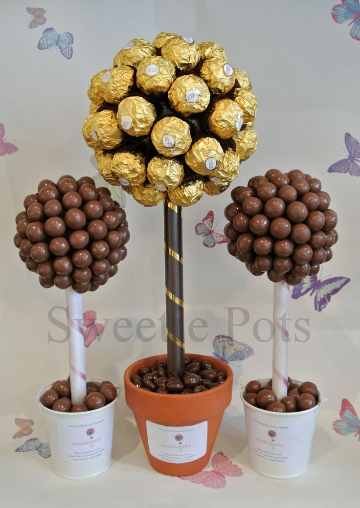 Ferrero Rocher (Medium) and Malteser (small) Sweet/Candy Trees