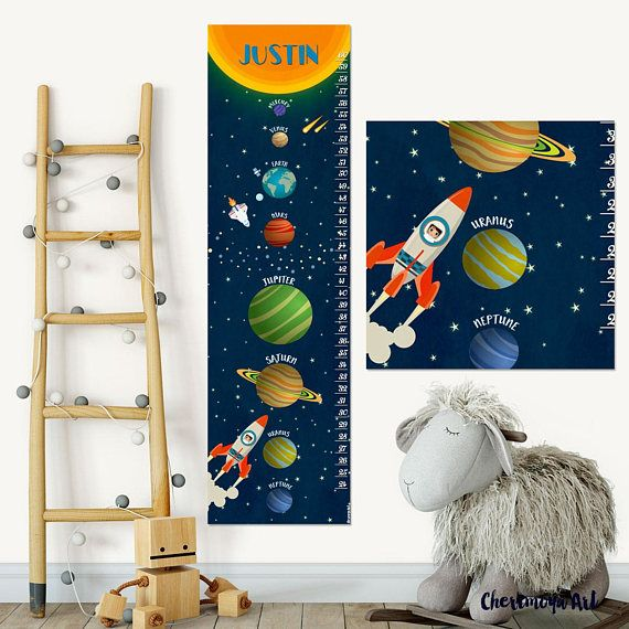 Solar System Decal Space Growth Chart Solar System Nursery Decor Personalized Growth Chart Space Nursery Decor Solar System Art Outer Space