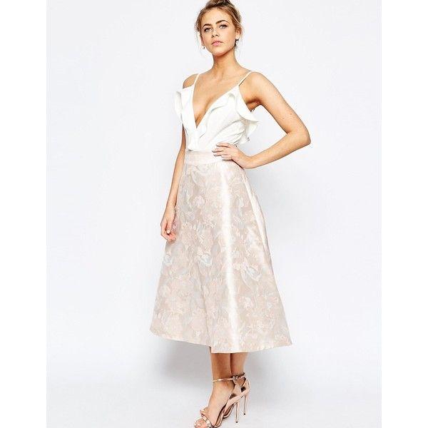 Coast Madsen Jacquard Full Skirt in Pink ($219) ❤ liked on Polyvore featuring skirts, pink, jacquard skirt, white skirt, full midi skirt, calf length skirts and coast skirts