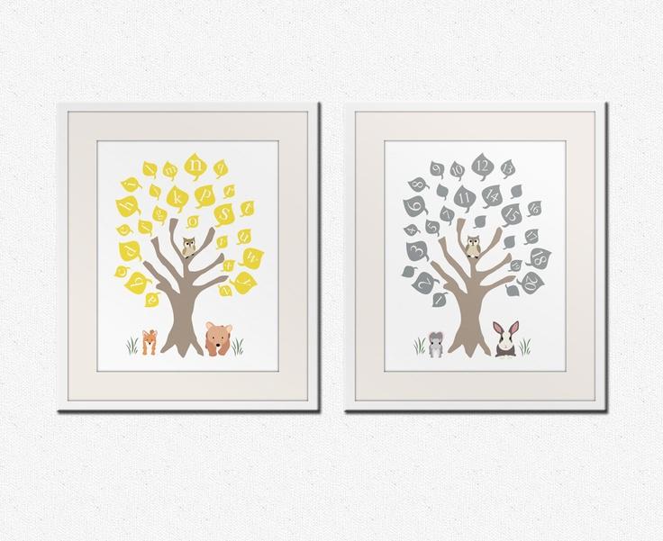 Baby nursery art print. ABC nursery decor. Alphabet print, woodland owl art print with numbers, Childrens art by WallFry. 8x10 prints. $30.00, via Etsy.