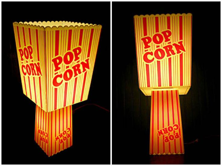 Recycled Popcorn containers into table lamp #Container, #Lamp, #Light, #Popcorn, #Recycled