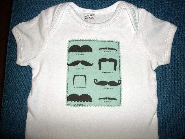 T-Shirt for bubs for Movember - fabric from #spoonflower