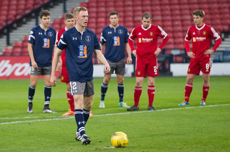 Queen's Park's Ross Millen prepares to take the penalty during the Ladbrokes League One game between Queen's Park and Albion Rovers.