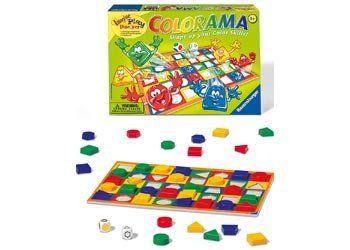 RAVENSBURGER Game Colorama Excellent for developing colour and shape matching skills by sorting items on the game board. players. Includes 1 game board, 40 counters in 4 colours and 5 shapes, 1 colour die and 1 shapes die. Players 1-6 Ages 3+ years #toys2learn #ravensburger #educationalgames #learningcolor #boardgames