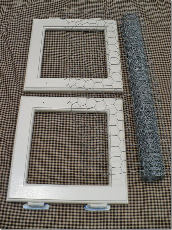 basic how-to on replacing glass with chicken wire (and fabric)