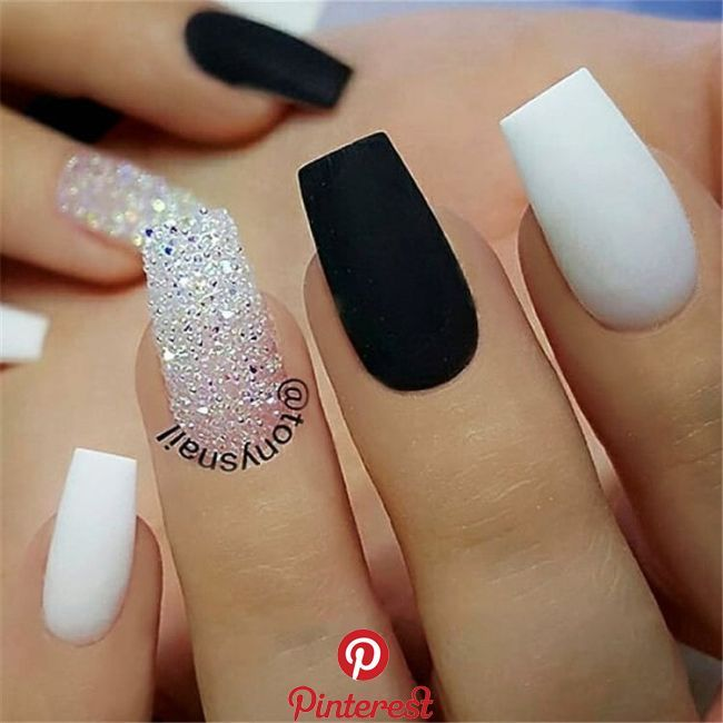 Black white acrylic coffin nail ideas are timeless classics