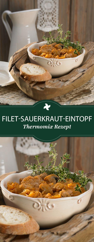 Yummi! Dieses Thermomix ® Rezept ist für Eintopf-Liebhaber: Herzhafter Eintopf mit Filet und Sauerkraut. Wärmt von innen!