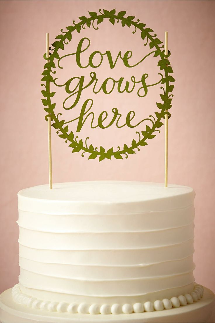 product   Love Grows Here Cake Topper from BHLDN   laser cut details...maybe for 10yr anniversary.