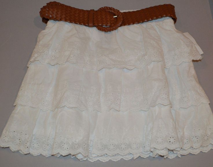 Women's Rue 21 White Ruffle Floral Stitch Elastic Waist Skirt &Belt Juniors M, L #rue21 #Tiered
