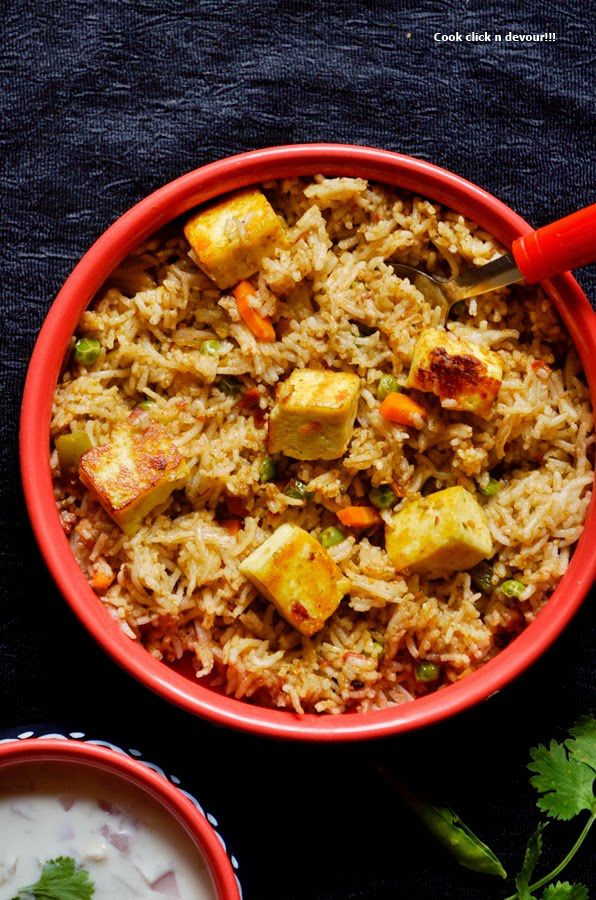 Paneer butter masala pulao: How about a very tasty pulao that traps the flavor and taste of paneer butter masala,very simple to make pulao,you can also use leftover gravy to make this pulao,recipe @ http://cookclickndevour.com/2014/07/paneer-butter-masala-pulao-recipe-how-to-make-paneer-butter-masala-pulao.html