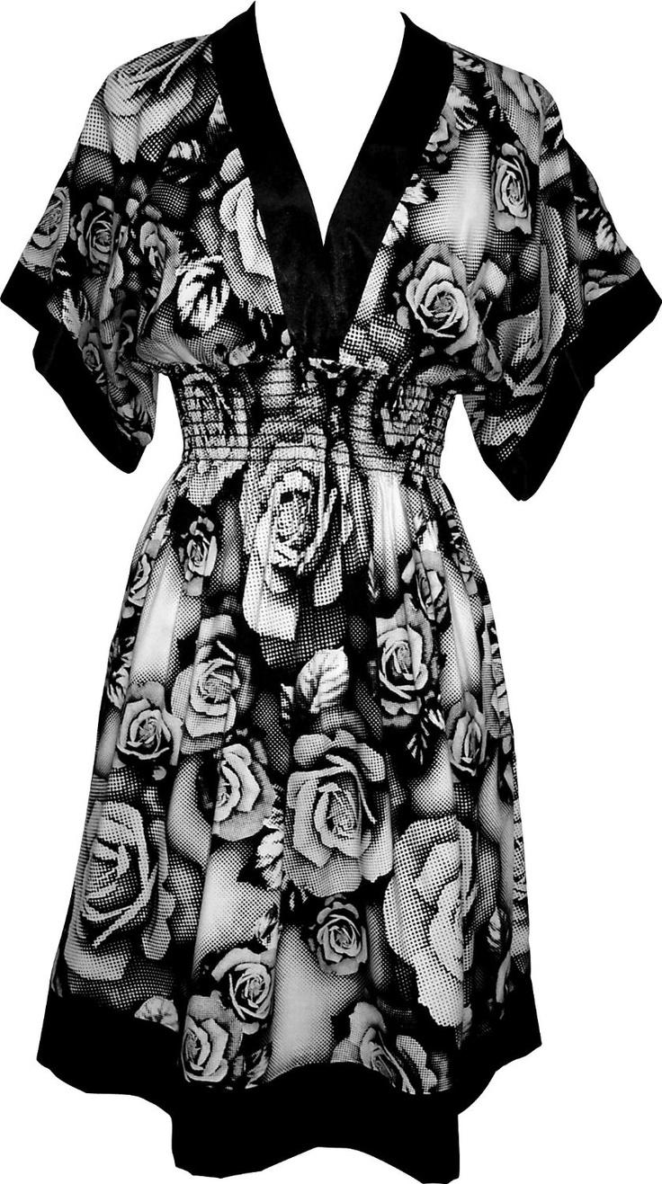 Pixelated Floral Black and White Pullover Dress Junior Plus Size, (dress, evening dress, black dress, dresses, halter, plus size, cocktail, plus size sundress, pretty, sundresses)