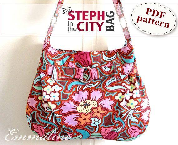 Steph In The City Bag PDF Purse Pattern - Handbag, Shoulder Bag, Hobo Bag Pattern