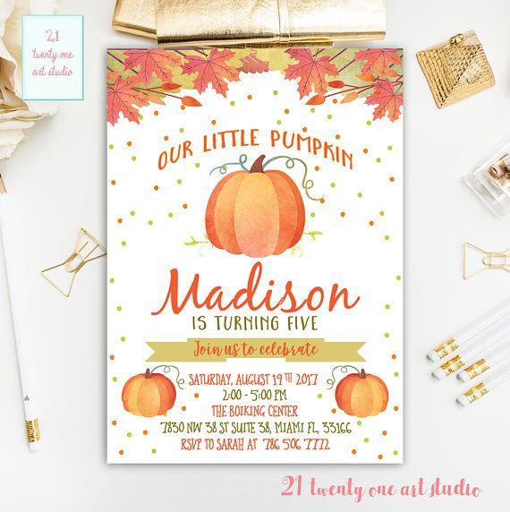 Pumpkin Birthday Invitation Pumpkin Invitation Our Little