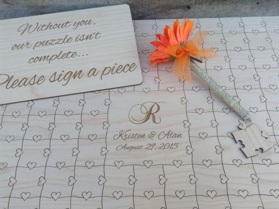 150 piece CUSTOM Wedding Guest Book Puzzle by NorthernOwlCreations