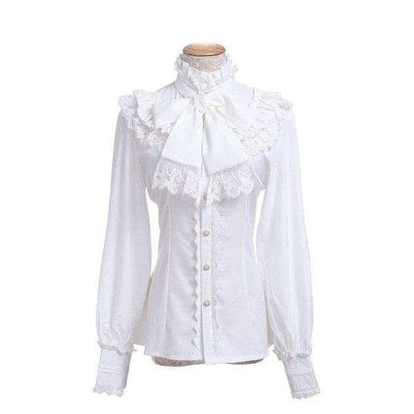 Nuoqi Women Lolita Lace Stand-Up Collar Lotus Ruffle Shirt Retro Victo ❤ liked on Polyvore featuring tops, blouses, victorian shirt, flutter-sleeve tops, retro shirts, victorian blouses and ruffle blouse
