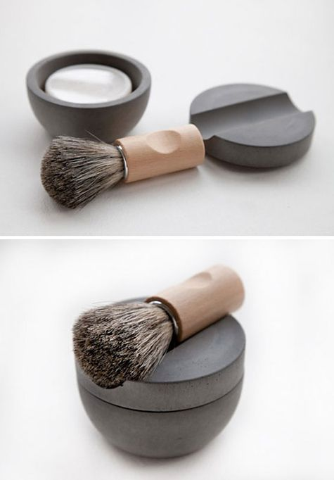 Concrete shaving kit designed by Lovisa Wattman for the Swedish company Iris Hantwerk