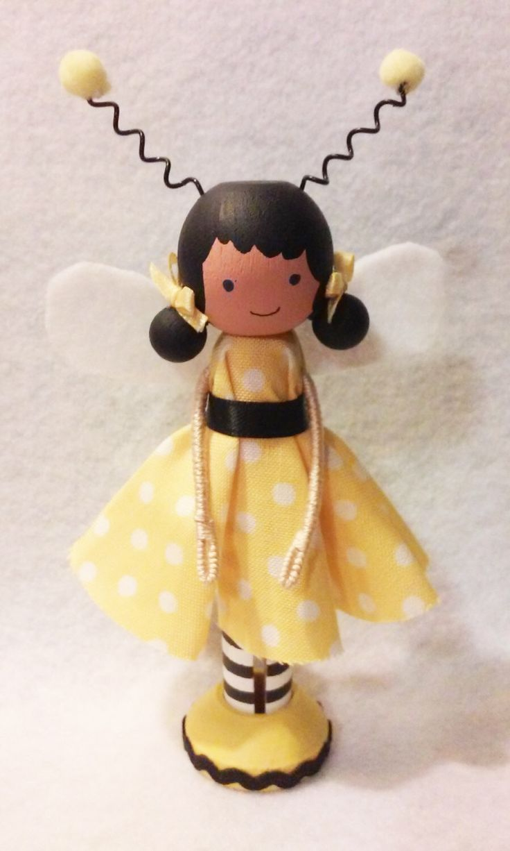 Bee Girl Miniature Wooden Clothespin Doll by MountStCraftMess on Etsy https://www.etsy.com/listing/217643898/bee-girl-miniature-wooden-clothespin