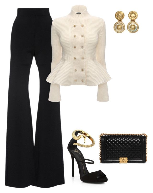Untitled #4275 by teastylef on Polyvore featuring polyvore fashion style Alexander McQueen Cushnie Et Ochs Giuseppe Zanotti Chanel Versace clothing