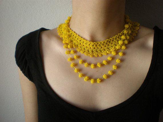 Grace - Lemon Yellow ... Beaded Necklace - Crochet - Beadwork