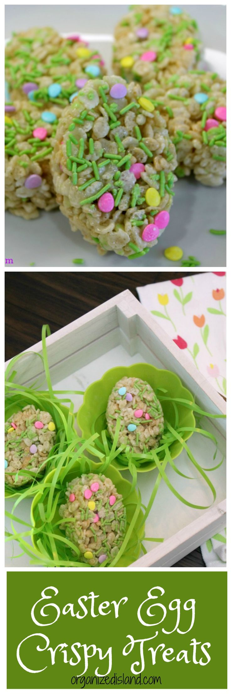 Fun Easter rice krispie treats idea for Easter snack or dessert.    #easter #dessert #snack #recipe #recipes #ricecrispytreats #ricecrispies