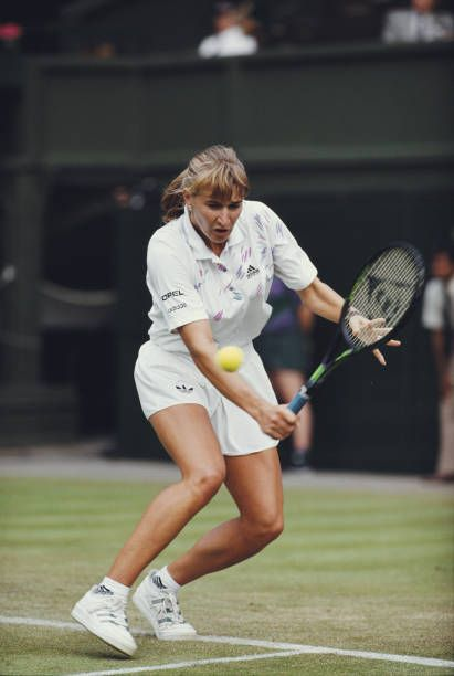 German tennis player Steffi Graf pictured in action during progress to reach and win the final of the Ladies' Singles tournament at the Wimbledon...