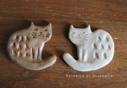Reinette et Mirabelleの部屋 : 陶器 猫ブローチ