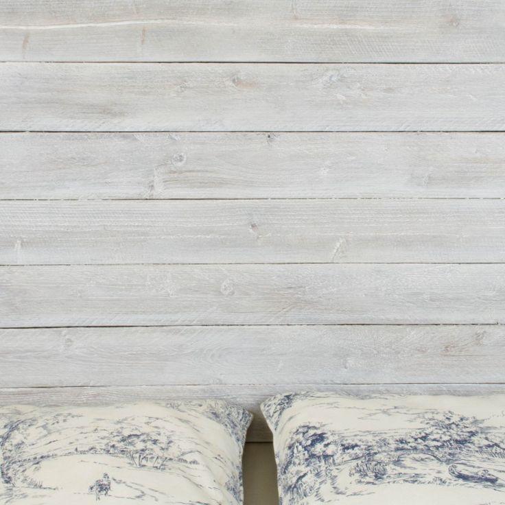 Cabecero de madera rústica acabado envejecido blanco   Cabeceros   Muebles