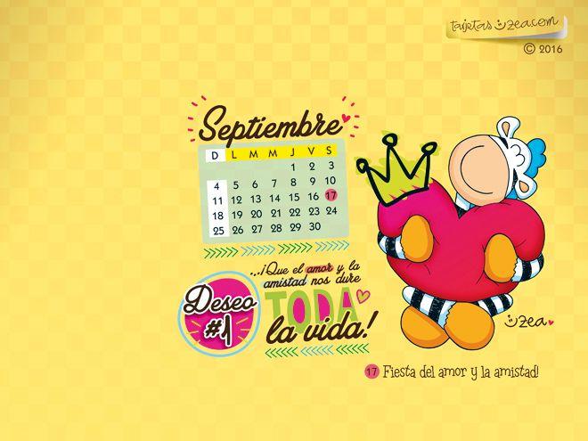 Calendario de Septiembre de 2016-Septiembre 2016 cebra abrazando corazon © ZEA www.tarjetaszea.com