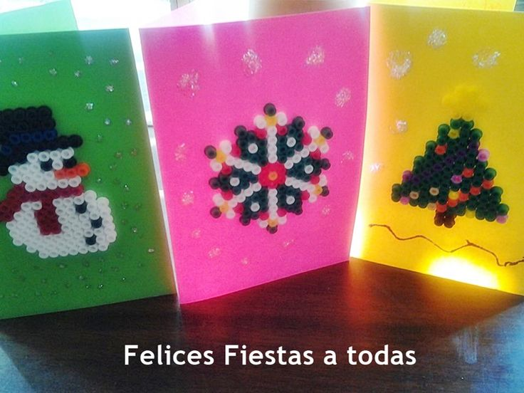 Postales navideñas con hama beads