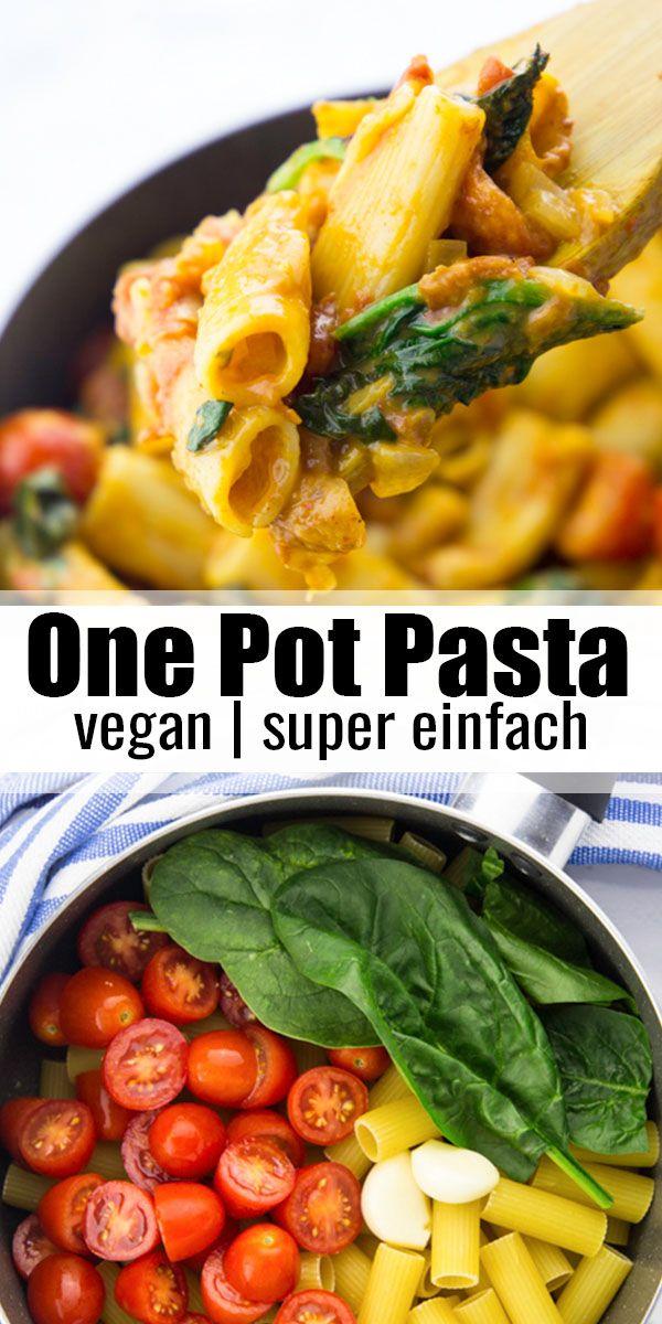 Suchen Sie nach einfachen Nudelrezepten? Diese Eintopfnudeln mit Spinat und Tomaten sind …   – Vegan Heaven Rezepte ♡
