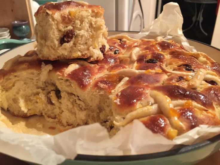 Hot cross buns - more like a scone! Soft and fruity. Recipe on the blog.