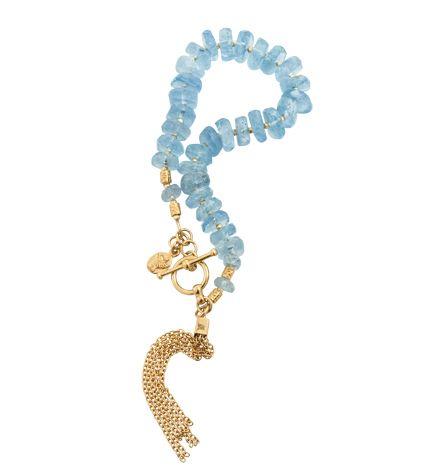 Aquamarine Tassle Bracelet, sterling silver,18kt hard gold plate  https://kerryrocks.com.au/product/tassle-bracelet-aquamarine-gold