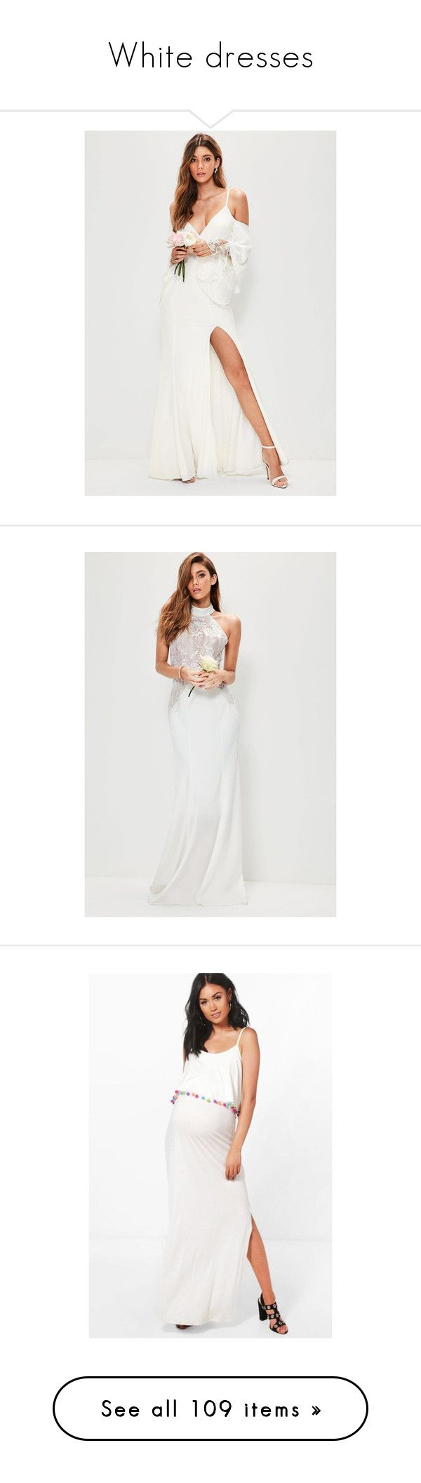 """""""White dresses"""" by ukdresslover ❤ liked on Polyvore featuring dresses, lace bridal dresses, white bridal dresses, plunge neck maxi dress, white dress, plunging neckline maxi dress, wedding dresses, floral print maxi dress, floral dresses and petite maxi dresses"""