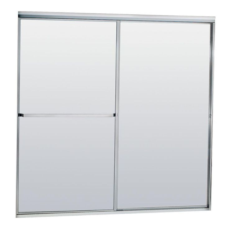 Contractors Wardrobe Model 750 58-1/2 in. x 57 in. Framed Sliding Tub Door in Satin Clear with Obscure Glass and Towel Bar