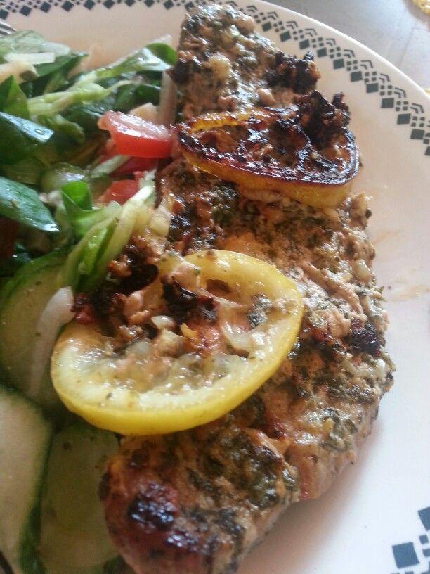 Summer lunch - lemony pork with salad