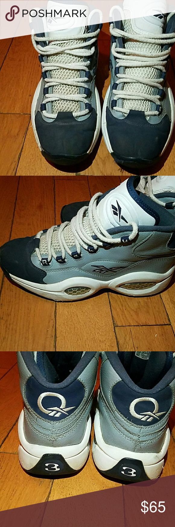 Reebok Allen Iversons Men size 6.5 or women 4.5 Blue white and gray Gently used Reebok Shoes Sneakers