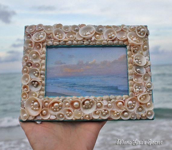 Seashell Photo Frame Costal Decor Beach Style by MonaLisasSecret