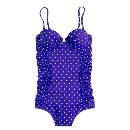 D-cup polka-dot ruched underwire tank