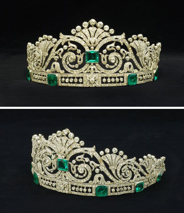 Circa 1915 emerald and diamond tiara in a fitted case by Marzo. The central square-cut emerald set amidst a tapering openwork panelof scrolling foliate motifs, mounted atop a band set with six graduated cut-cornered step-cut emeralds interspersed with openwork panels with knife-edge set diamond collets, the piece set throughout with old and rose-cut diamond. This tiara has been in the private ownership of a Spanish aristocratic family.
