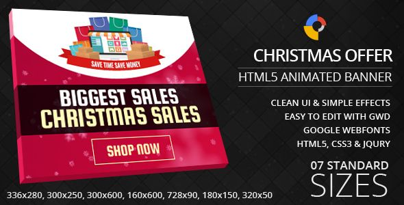 Christmas Offers - GWD Ad Banners . Christmas Offers – HTML5 Ad Banners designed with Google Web Designer. And provided 7 popular used sizes in the