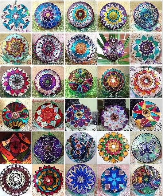 Mandala made with recycled cd, what a clever idea.