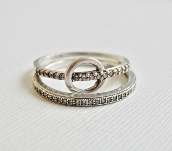 1df3dba0a Stacking Rings Sterling Silver CZ Rhinestones Circle Design Thin Band  Stackable Rings Signed Jewelry Set of 2 Ring Duo Minimalist Bands