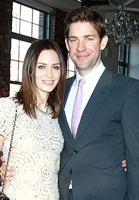 Emily Blunt and John Krasinski.  Married 2010 - She just announced that she is pregnant!