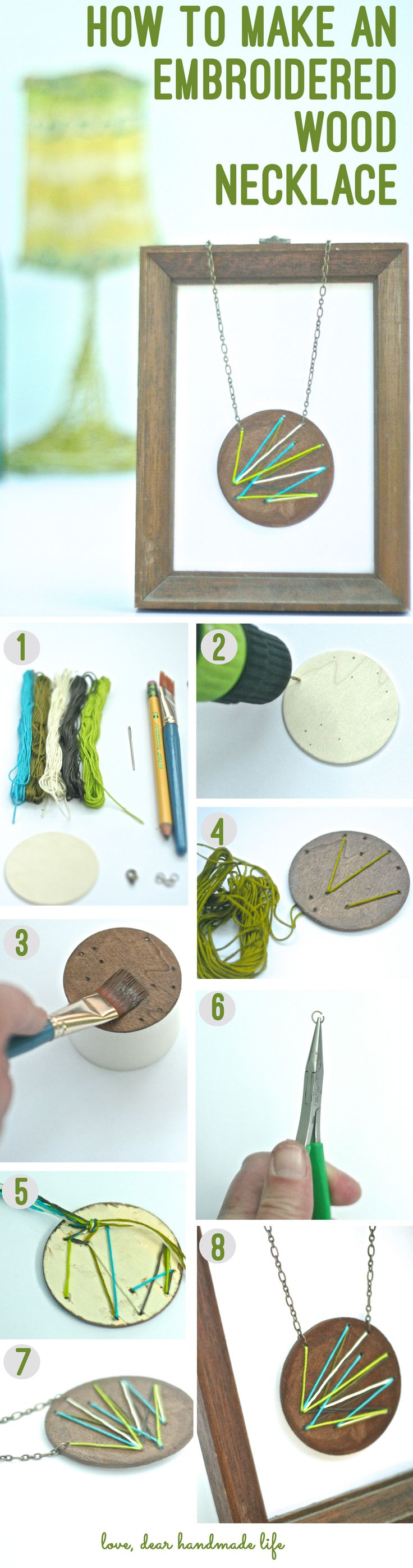 how to make an embroidered wood circle necklace - dear handmade life